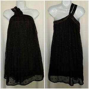 Tea/F black sheer stappy blouse